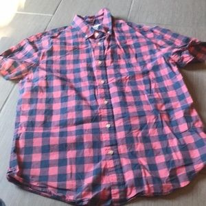 Men's short sleeved plaid shirt